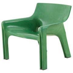 Vico Magistretti Green Molded Plastic Vicario Chair