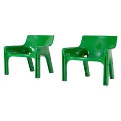 Vico Magistretti Green Vicario Lounge Chairs