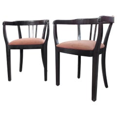 Vico Magistretti, Italian Mid-Century Modern Wooden Club Chairs, 1950s