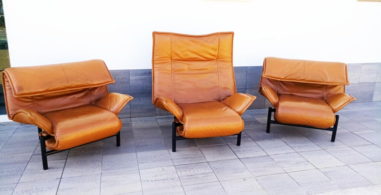 Vico Magistretti Leather Lounge Armchairs