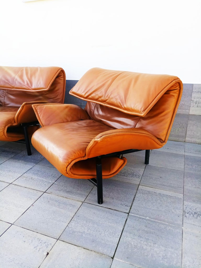 Rare and beautiful set of 3 Vico Magistretti leather lounge armchairs