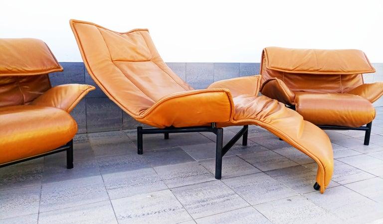 Italian Vico Magistretti Leather Lounge Armchairs