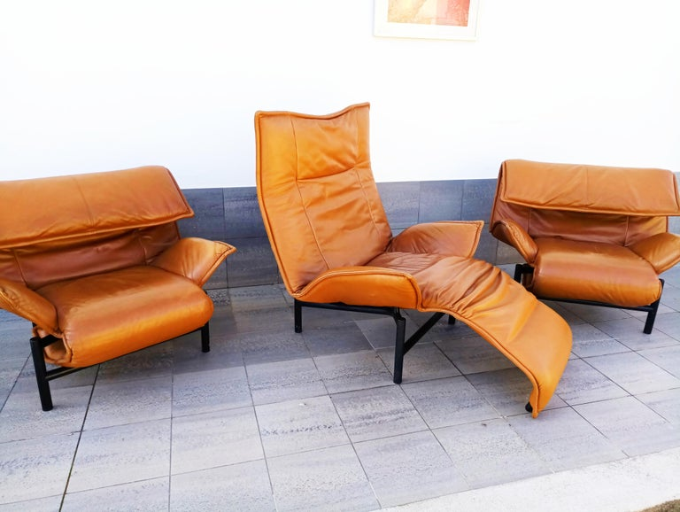 Late 20th Century Vico Magistretti Leather Lounge Armchairs
