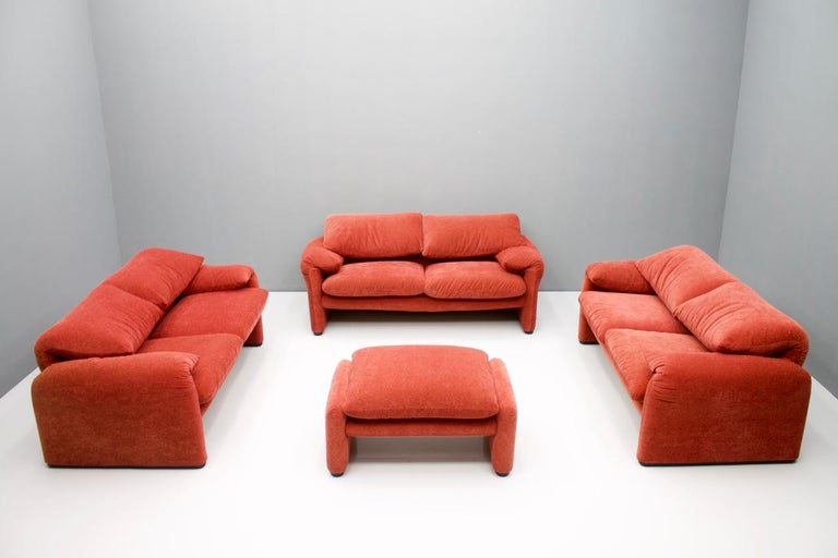 Italian Vico Magistretti Living Room Set Maralunga Sofa and Stool Cassina, Italy, 1973 For Sale