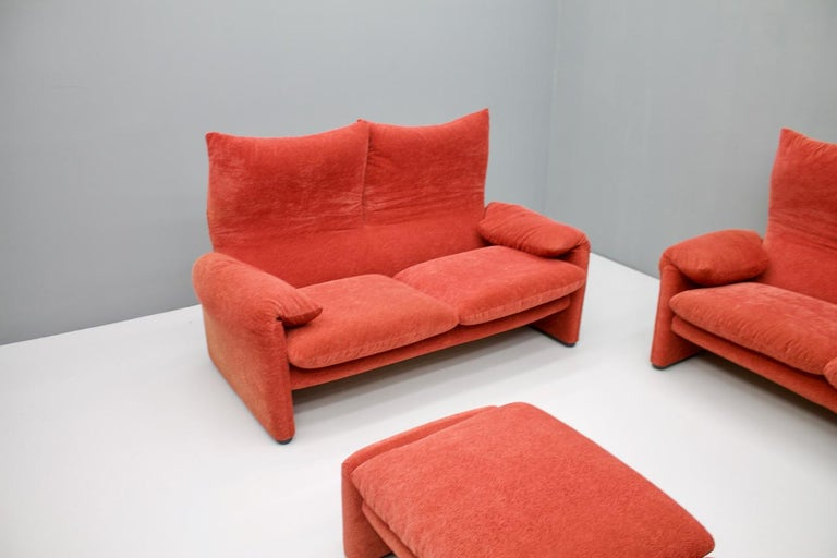 Late 20th Century Vico Magistretti Living Room Set Maralunga Sofa and Stool Cassina, Italy, 1973 For Sale