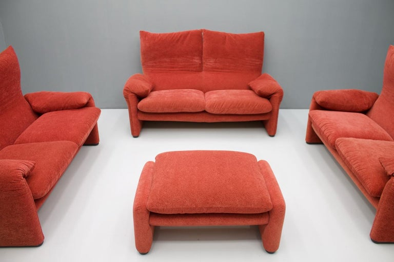 Fabric Vico Magistretti Living Room Set Maralunga Sofa and Stool Cassina, Italy, 1973 For Sale