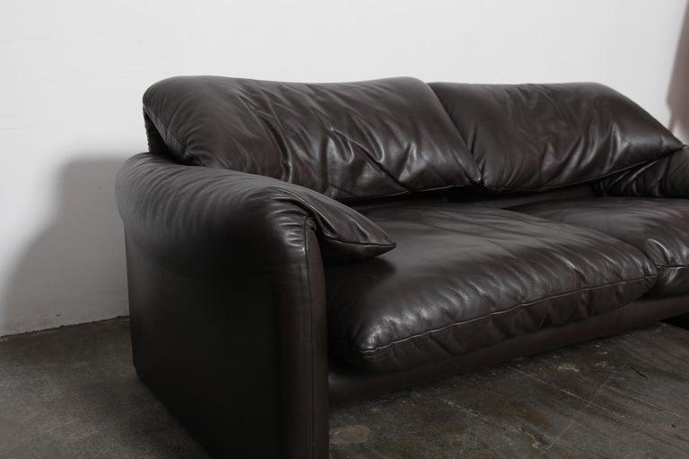 Vico Magistretti 'Maralunga' Brown Leather Sofa for Cassina, 1973, Italy For Sale 5