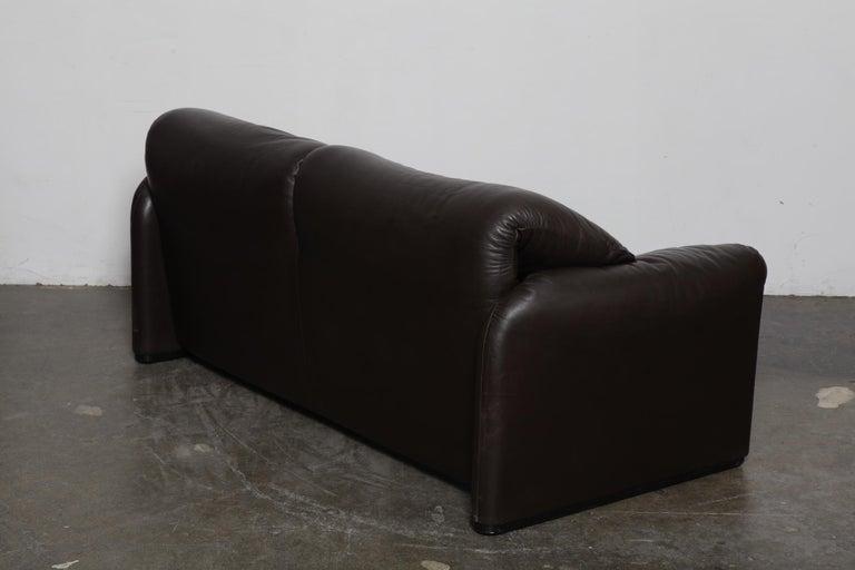 Italian Vico Magistretti 'Maralunga' Brown Leather Sofa for Cassina, 1973, Italy For Sale