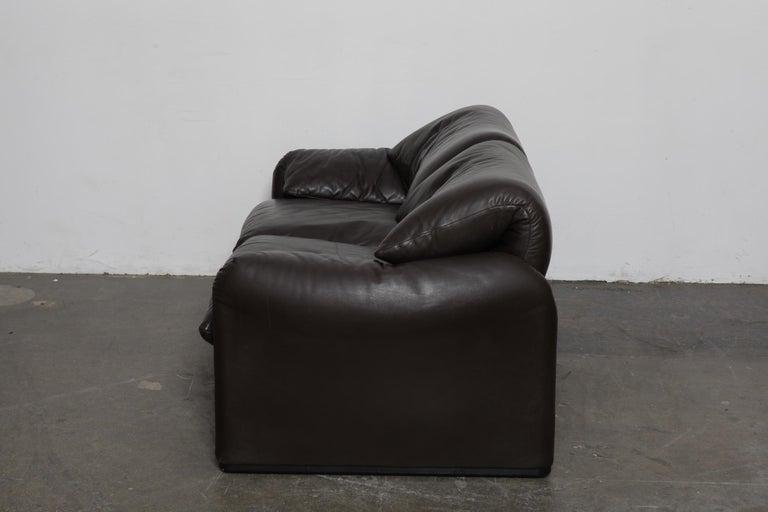 Vico Magistretti 'Maralunga' Brown Leather Sofa for Cassina, 1973, Italy For Sale 1