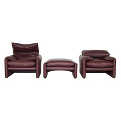 Vico Magistretti Maralunga Lounge Chairs in Red Brown Leather for Cassina, Italy