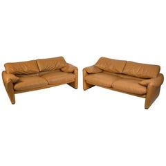 Vico Magistretti Maralunga Sofas for Cassina in Leather