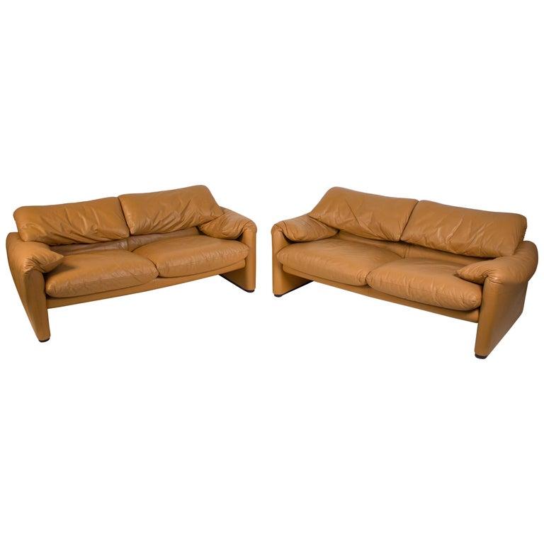 Vico Magistretti Maralunga Sofas for Cassina in Leather