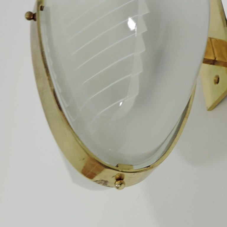 Brass Vico Magistretti pair of Lambda wall lights for Artemide, Italy 1961 For Sale