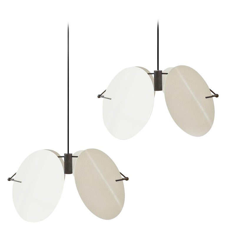 Vico Magistretti Pair of 'Monet' Ceiling Lamps for Oluce, Italy, 1980s For Sale