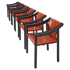 Vico Magistretti Set of Six '905' armchairs in Crimson Red Leather