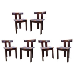 Vico Magistretti Set of Six Wooden Chairs, 1950s