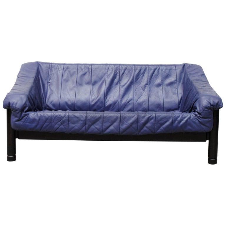 "Vico Magistretti Style ""Carimate"" Blue Leather Loveseat For Sale"
