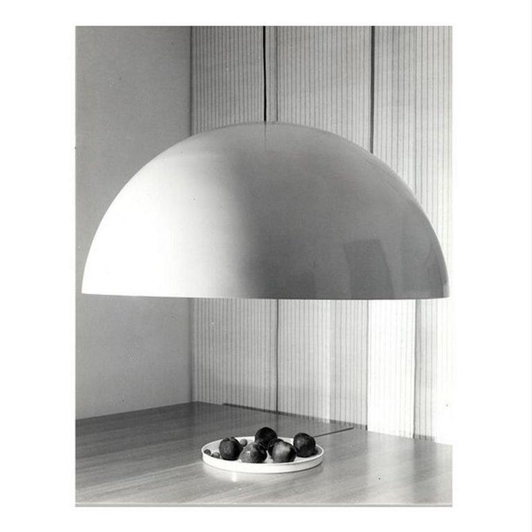 Italian Vico Magistretti Suspension Lamp 'Sonora' 493 Opaline by Oluce For Sale