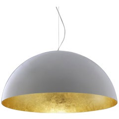 Vico Magistretti Suspension Lamp 'Sonora' White Outside and Gold Inside by Oluce