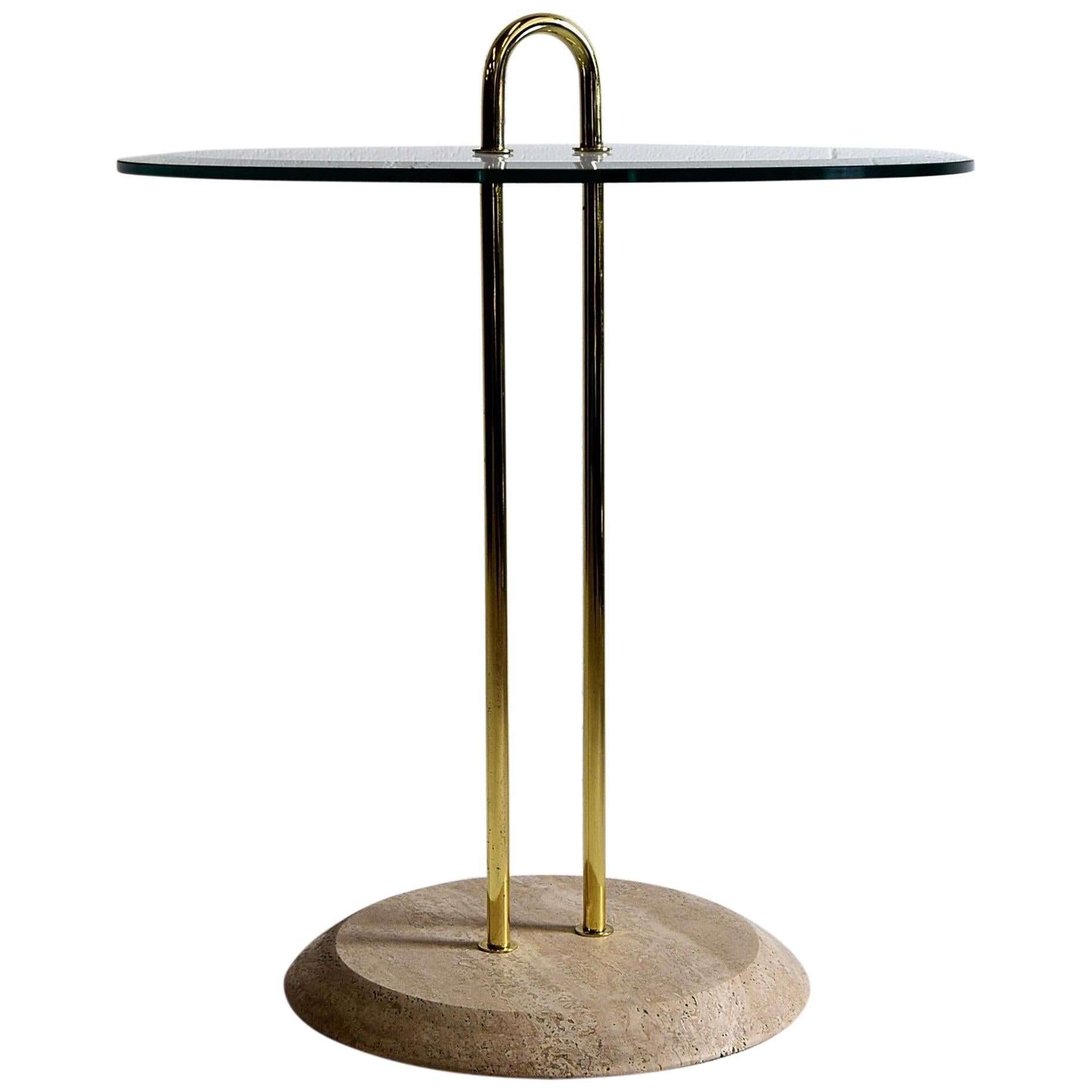 Vico Magistretti Travertine and Brass Hollywood Regency Side Table for Cattelan