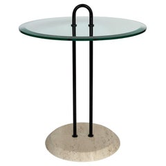 Vico Magistretti Travertine and Glass Side Table for Cattelan Italia