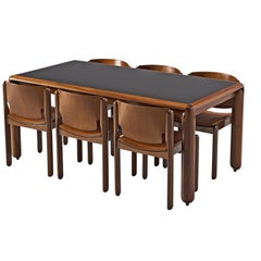 Vico Magistretti Walnut Dining Set for Cassini