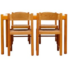 Vico Magistretti Yellow Stained Pine Dining Set