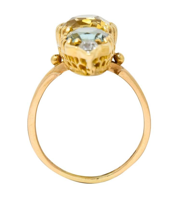 Victorian Topaz Tourmaline Diamond 14 Karat Gold Five-Stone Dinner Navette Ring For Sale 3