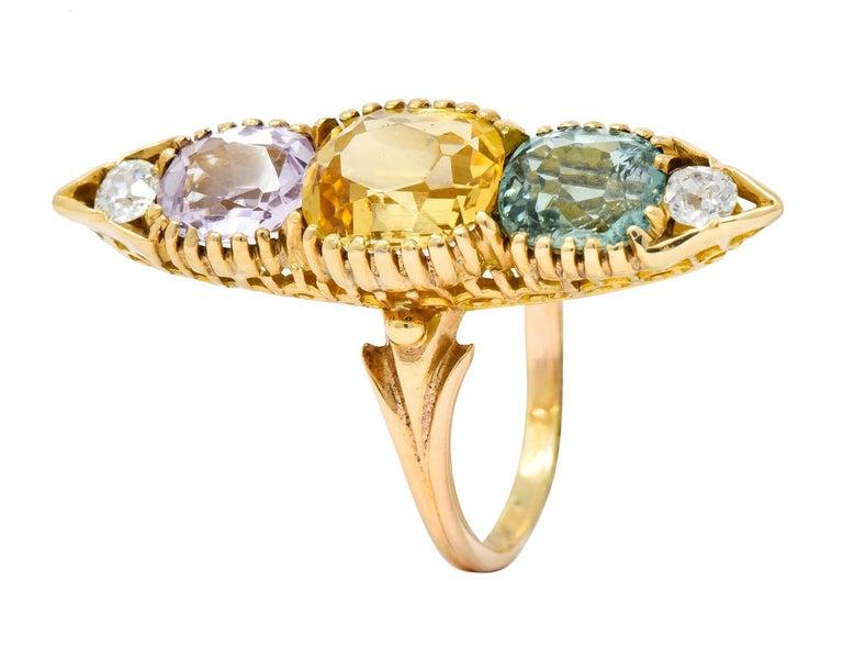 Victorian Topaz Tourmaline Diamond 14 Karat Gold Five-Stone Dinner Navette Ring For Sale 4