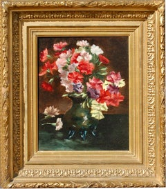 20th century Belgium oil, still-life of flowers, carnations in a vase.