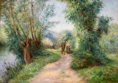 By the River - Impressionist Oil, Figures in Summer Landscape by Victor Vignon