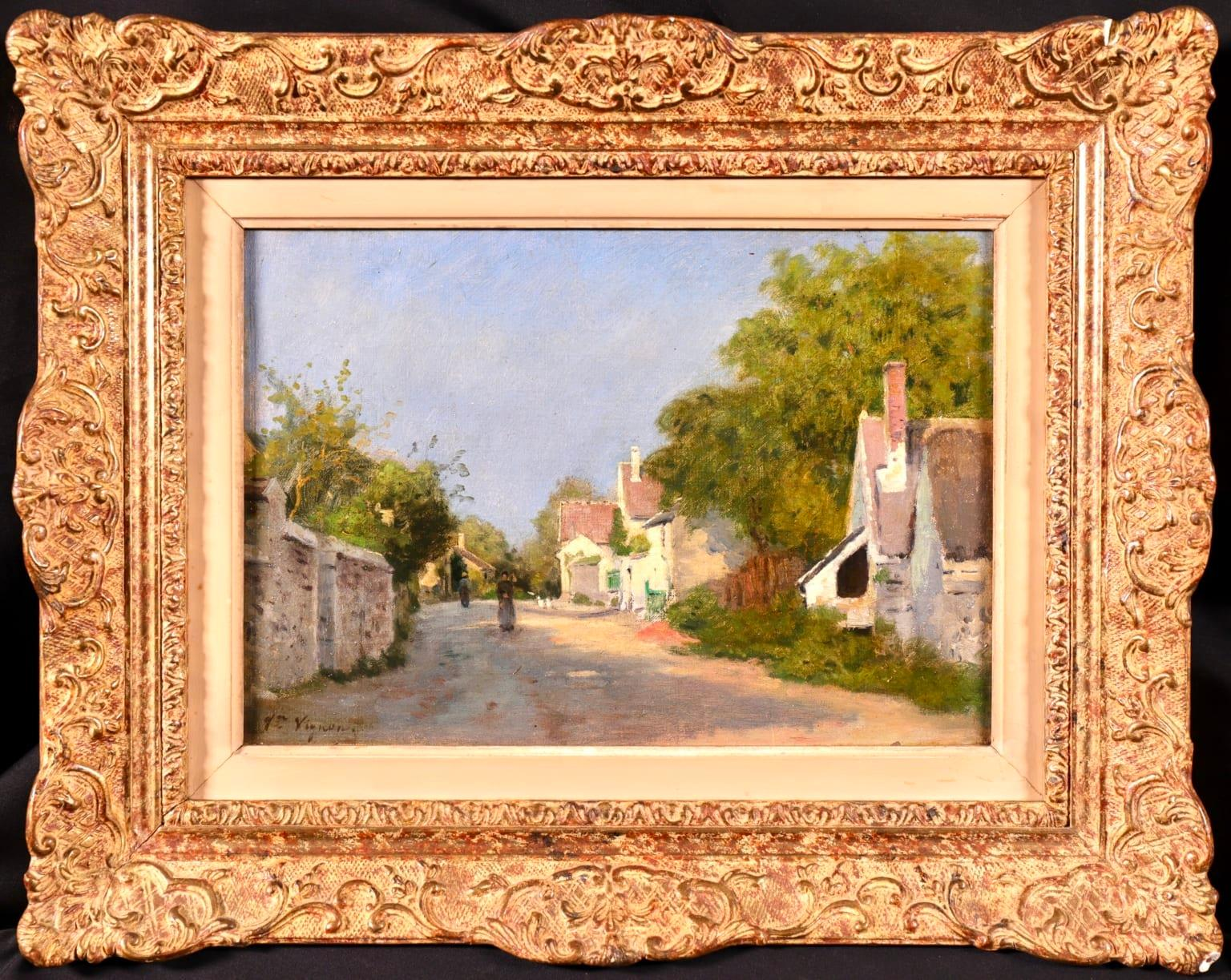 Figures in a Village Street - Impressionist Oil, Landscape by Victor Vignon