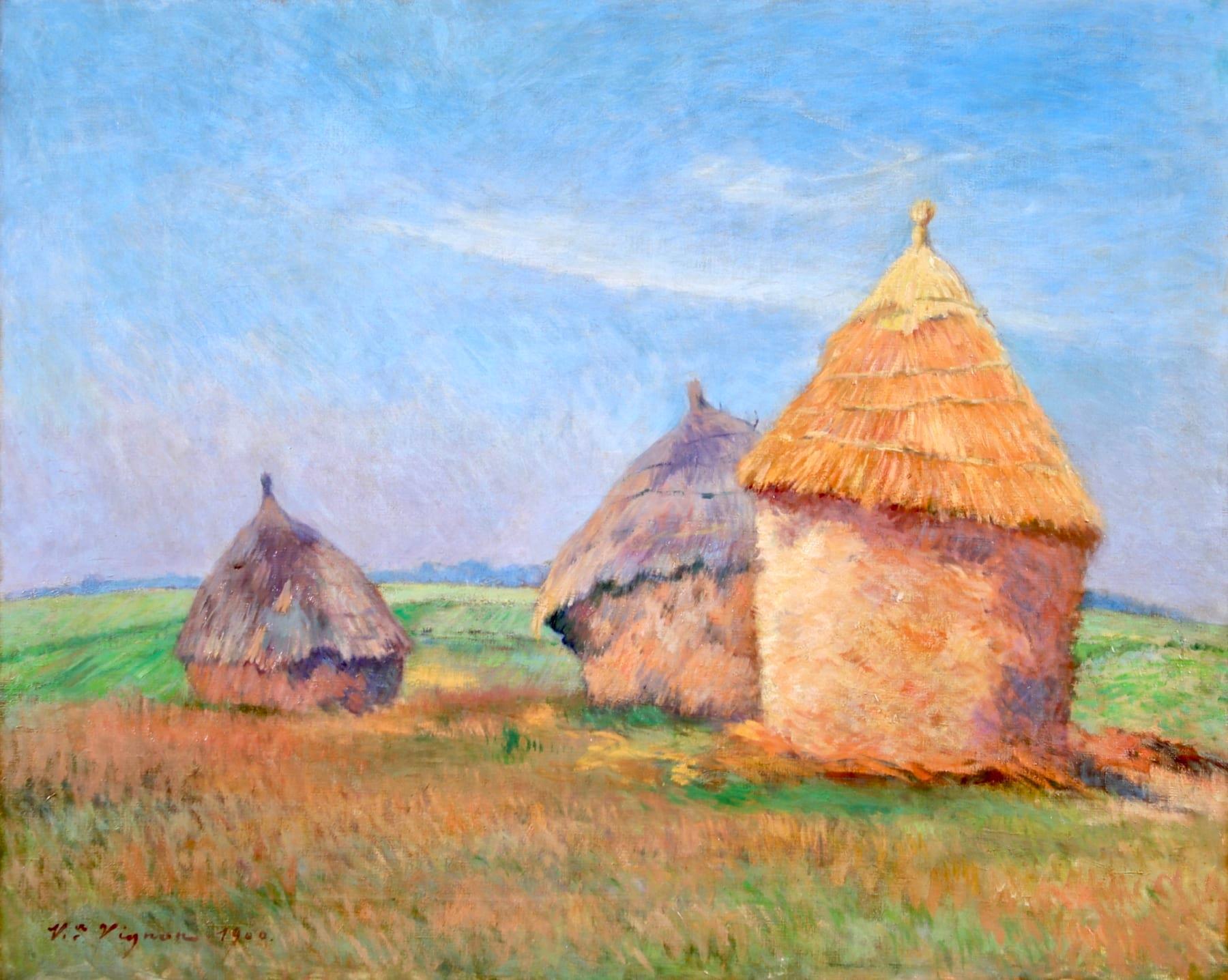 Les Meules - Impressionist Oil, Haystacks in Summer Landscape by Victor Vignon