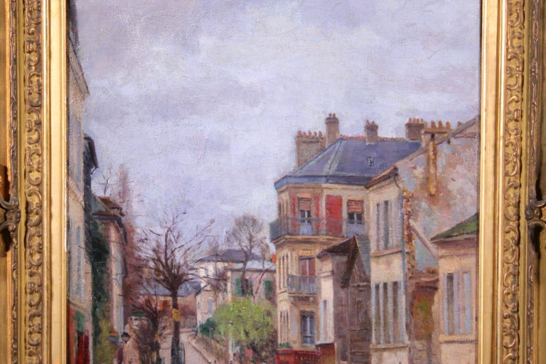 Montmartre - Impressionist Oil, Figures in Street Landscape by Victor Vignon - Gray Figurative Painting by Victor Alfred Paul Vignon
