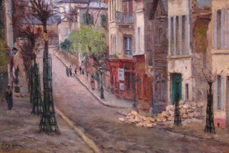Montmartre - Impressionist Oil, Figures in Street Landscape by Victor Vignon 1
