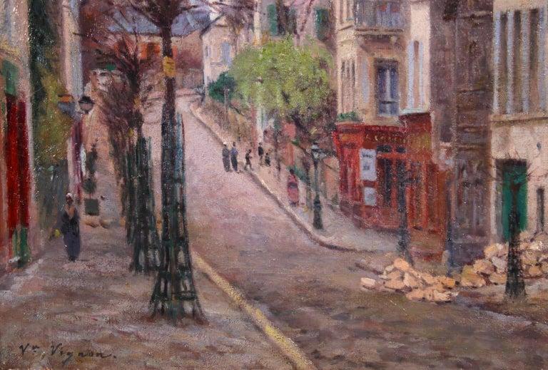 Montmartre - Impressionist Oil, Figures in Street Landscape by Victor Vignon 2