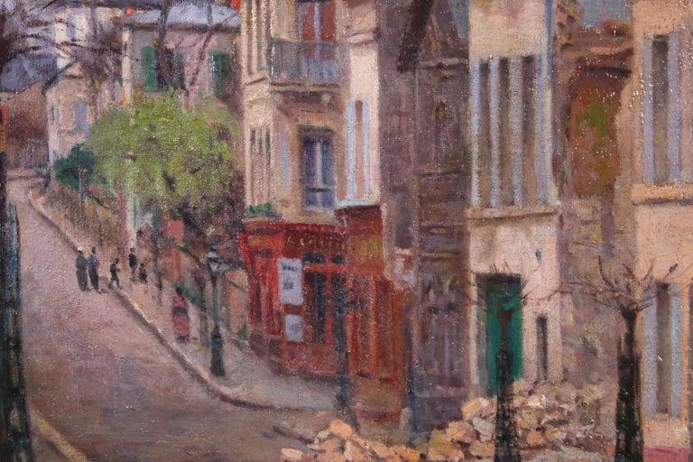 Montmartre - Impressionist Oil, Figures in Street Landscape by Victor Vignon 3