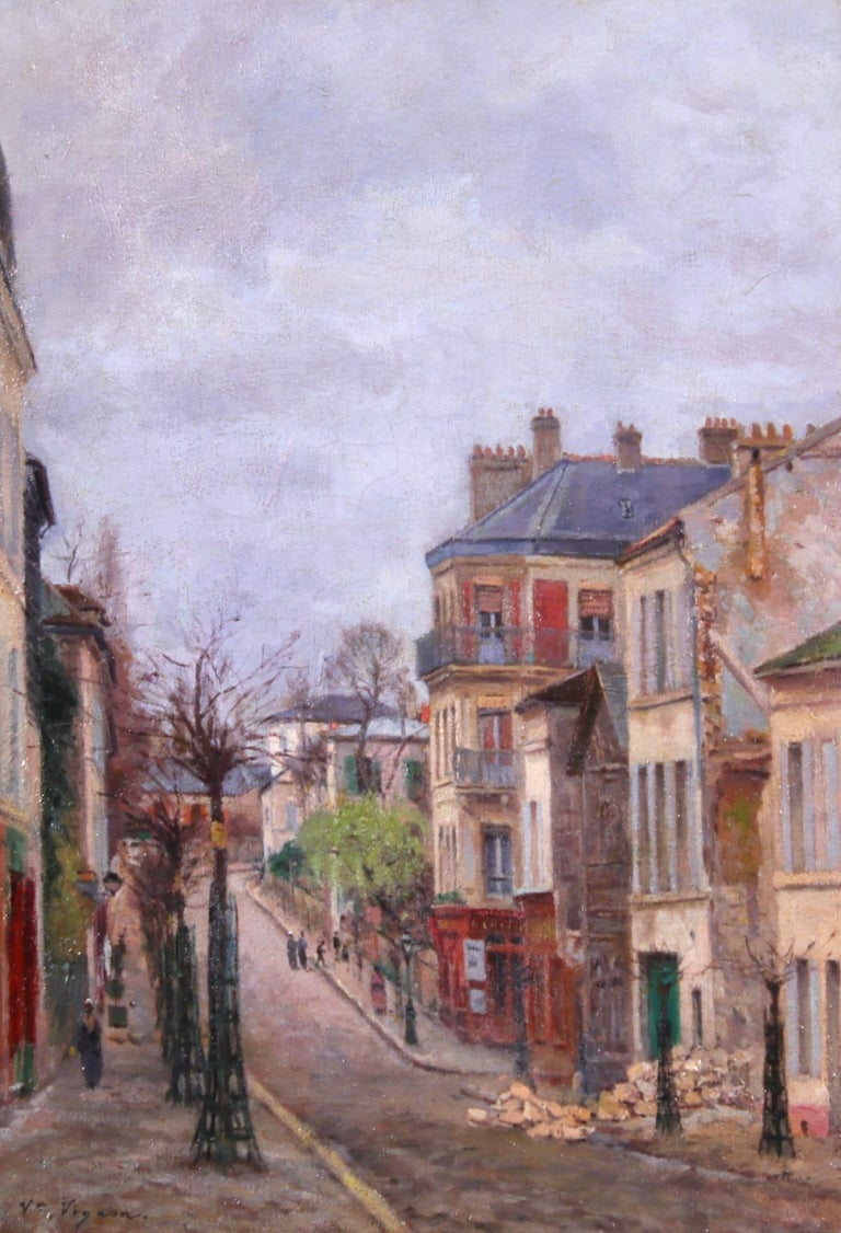 Victor Alfred Paul Vignon Figurative Painting - Montmartre - Impressionist Oil, Figures in Street Landscape by Victor Vignon