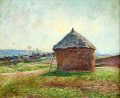 The Haystack - 19th Century Oil, Haystack in French Landscape by Victor Vignon