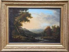 Classical Landscape with Cattle - French 19thC Neo Classical art oil painting