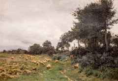 Victor J. Baptiste Barthélemy Binet , French, Sheep grazing, 1884 Oil on canvas