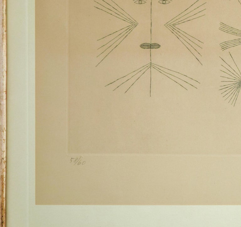 Codex d'un Visage - Original Etching by Victor Brauner - 1962 For Sale 3