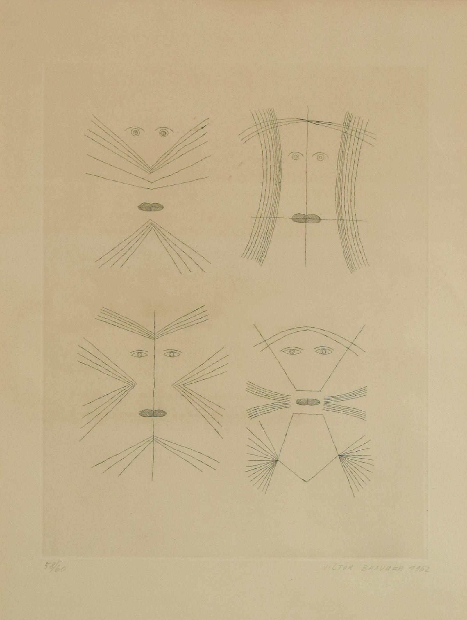 Codex d'un Visage - Original Etching by Victor Brauner - 1962