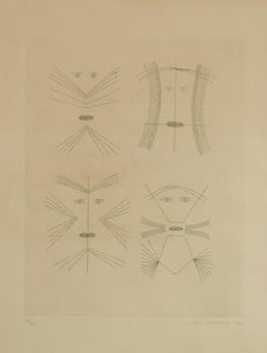 Codex d'un Visage - Original Etching by Victor Brauner - 1962