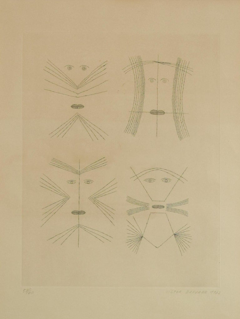 Codex d'un visage is a b/w original etching realized by Romanian Surrealist artist Victor Brauner (1903-1966) in 1962.  Signed, dated in pencil on lower margin. Numbered in Arabic numerals, from an edition of 60 prints.   The total edition includes