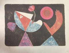 La Fiancée Heliotropique - Original Lithograph by Victor Brauner - 1955
