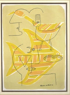 Traces Interstices - Original Lithograph by Victor Brauner - 1963