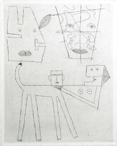 Women and Dog - Original Etching by Victor Brauner