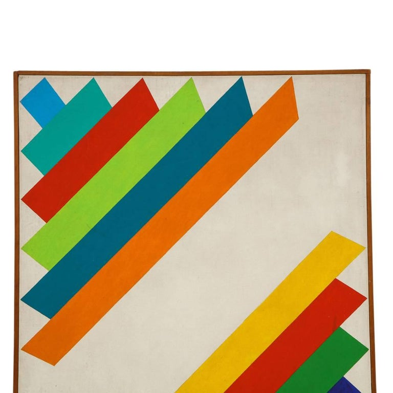 English Victor Burgin Abstract Painting, Acrylic on Canvas, Geometric, Signed For Sale