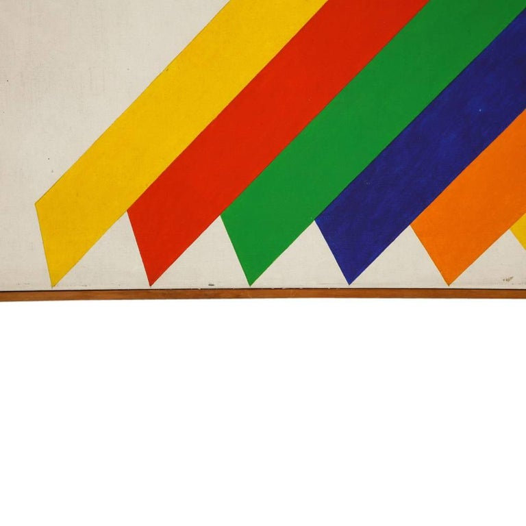 Hand-Painted Victor Burgin Abstract Painting, Acrylic on Canvas, Geometric, Signed For Sale